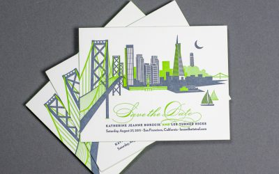 Featured Project: Katie and Lee's San Francisco Skyline Wedding Invitations